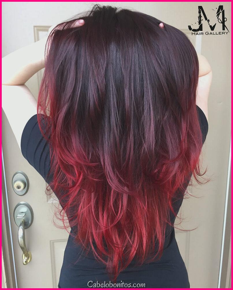 Os 27 penteados Ombre vermelhos mais quentes