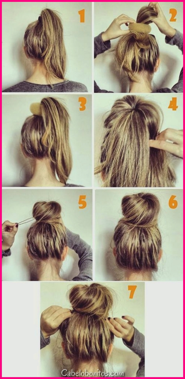 5 exemplos de uma vez que fazer penteados Bun (Tutorial passo a passo)