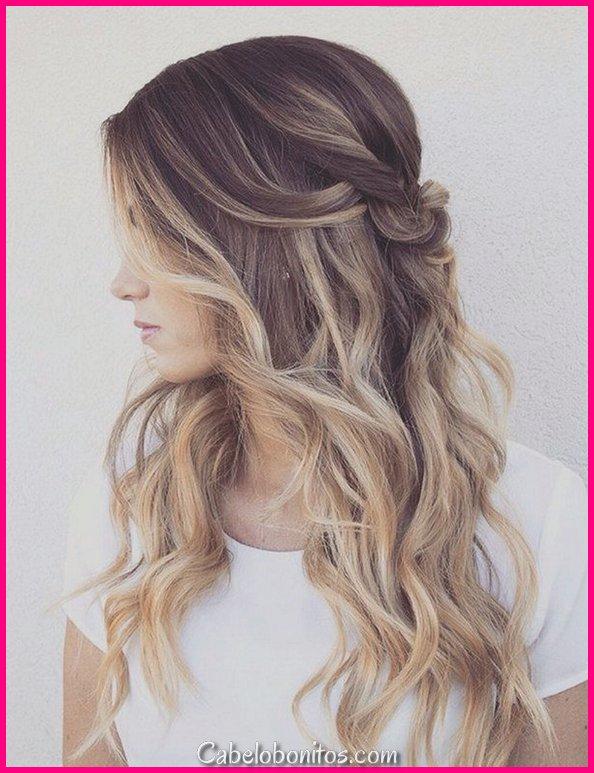 25 penteados mais atraentes e bonitos na metade até a metade