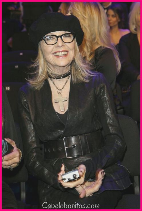 Penteados de Diane Keaton - cortes de cabelo sem esforço elegante