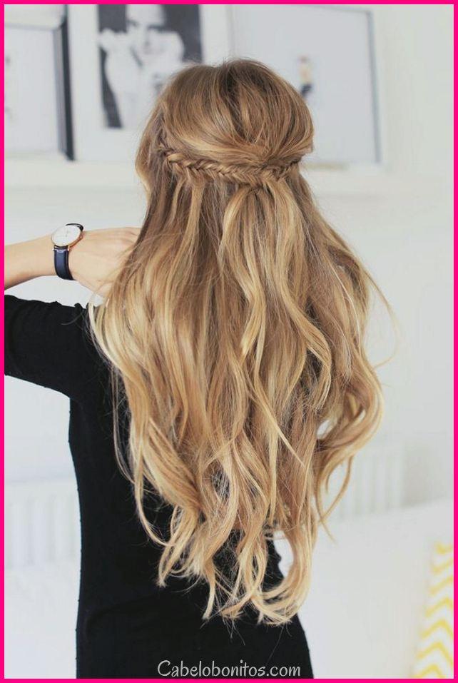 Penteados bonitos para cabelos longos para festas para experimentá-lo no lugar de trabalho 2018