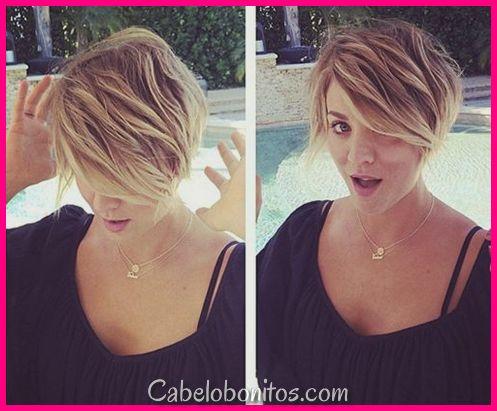 Penteados & cortes de cabelo de Kaley Cuoco: Curto, camadas, duende, golpes & Updos