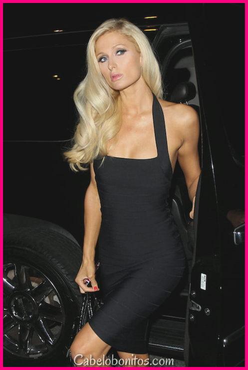 Penteados de Paris Hilton - Updos, ondulado, cachos, tranças e cortes de cabelo curtos