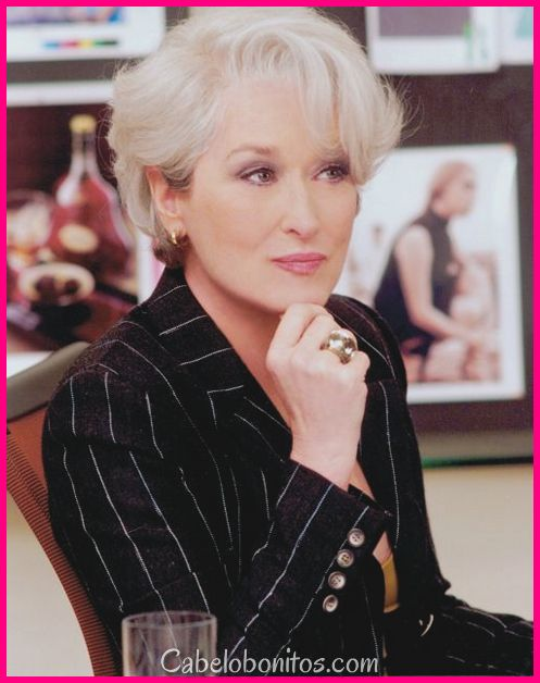 Penteados Meryl Streep: melhor para as mulheres mais velhas com cabelo fino