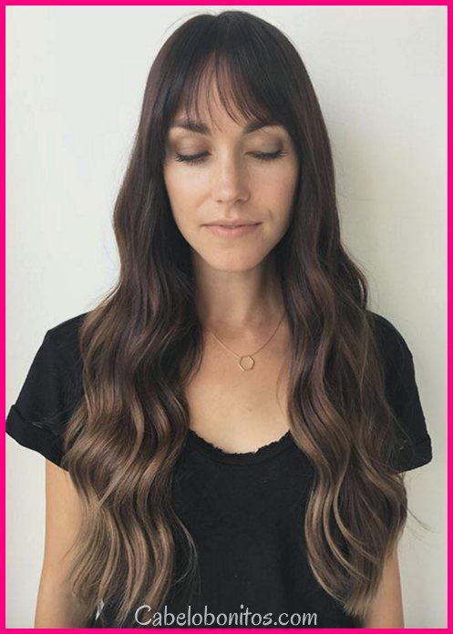 55 Dope Long Haircuts com Bangs: Dicas para usar franja penteados