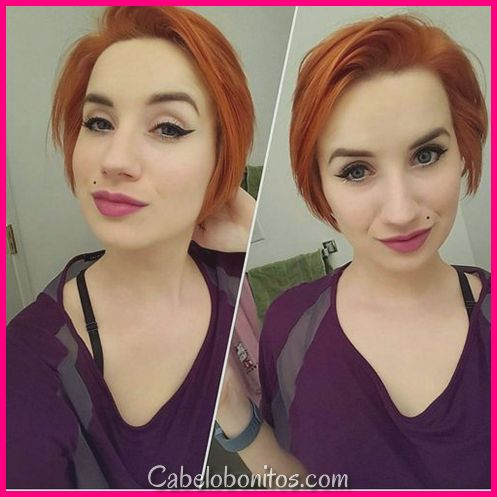 30+ Penteados Vermelhos Curtos Muito Legal